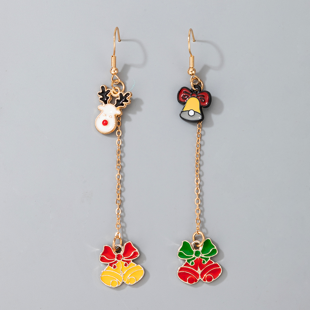 Retro Cute Christmas Fawn Bell Earrings Knot Elk Jingle Earrings  NHGY285680