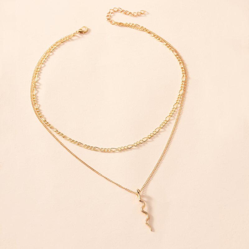 New snake-shaped decorative two-layer necklace NHOT285192