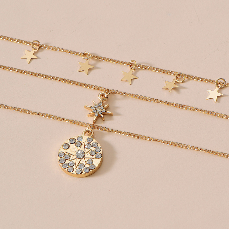 New diamond and star 3-layer necklace NHOT285188