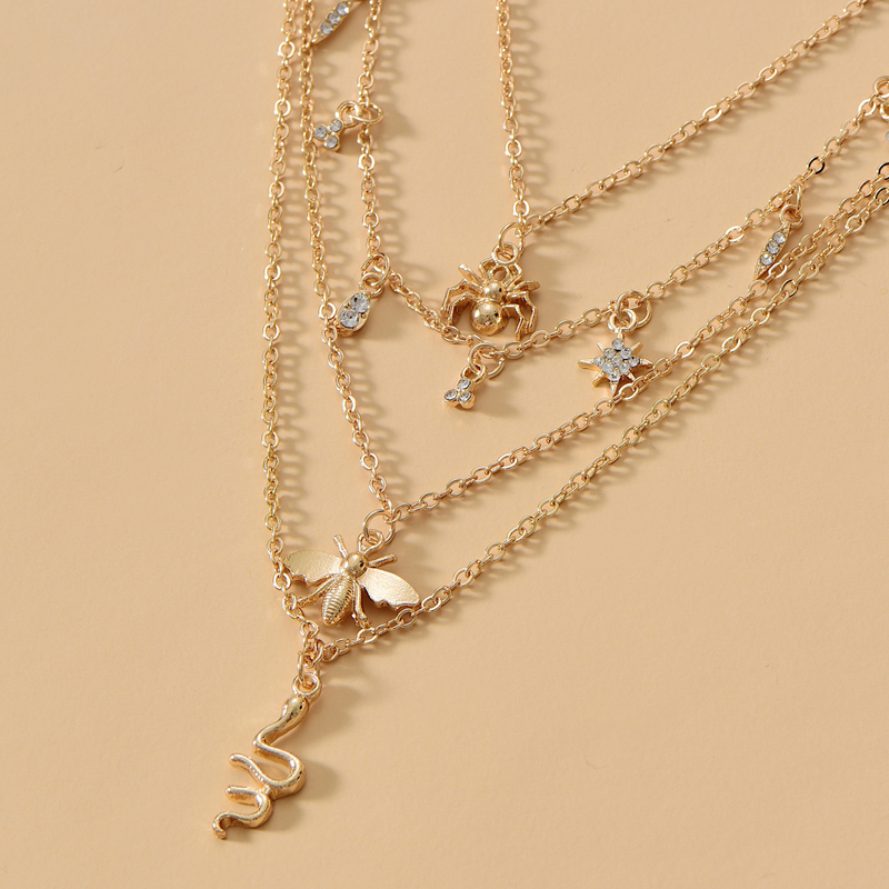 New bee snake-shaped decorative 4-layer necklace NHOT285186