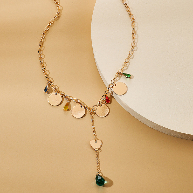fashion alloy discs round colored gemstone long necklace clavicle chain NHGY285565
