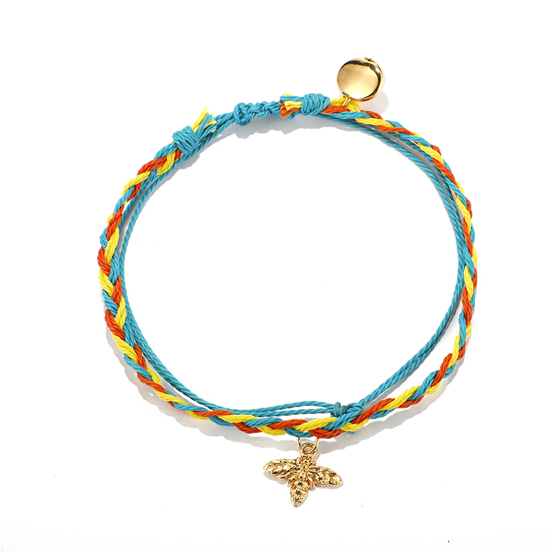 fashion colorful rope hand-woven small bee anklet thread woven bee anklet NHGY285645