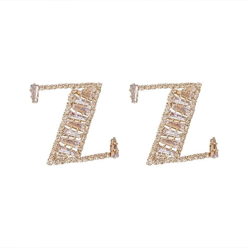 925 silver needle diamond letter Z stud earrings NHQC285638