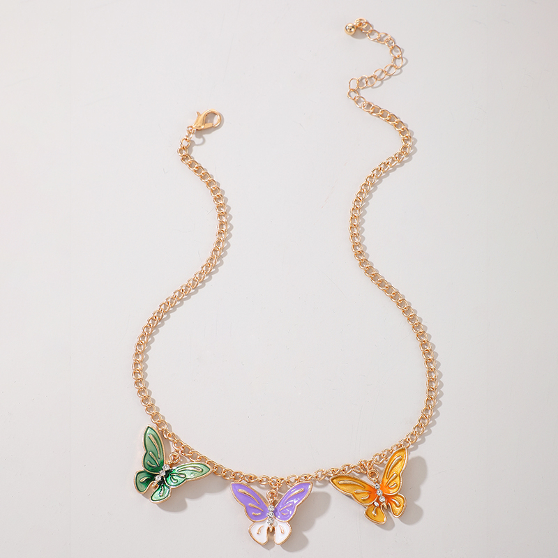 Fashion Alloy Multicolor Epoxy Butterfly Flying Necklace NHGY285712