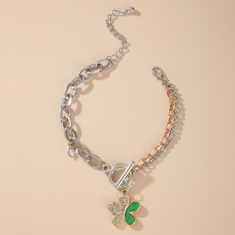 simple inlaid green crystal diamond flower bracelet alloy adjustable jewelry  NHGY286386