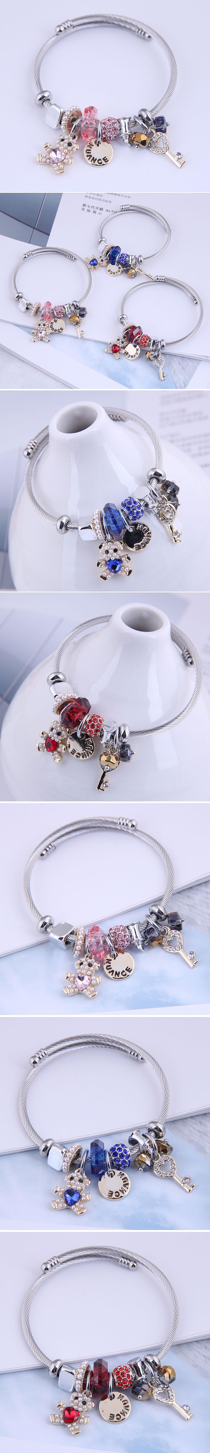 fashion metal bear disc bracelet NHSC287395