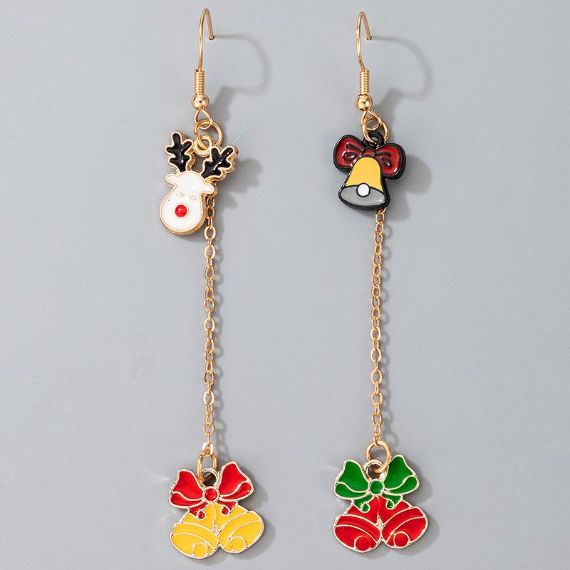 cute Christmas Elk Santa Claus pendant earrings NHGY287381