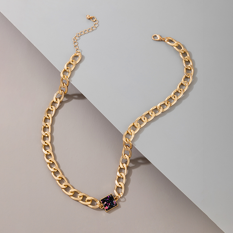 fashion thick chain hiphop retro necklace NHGY287355