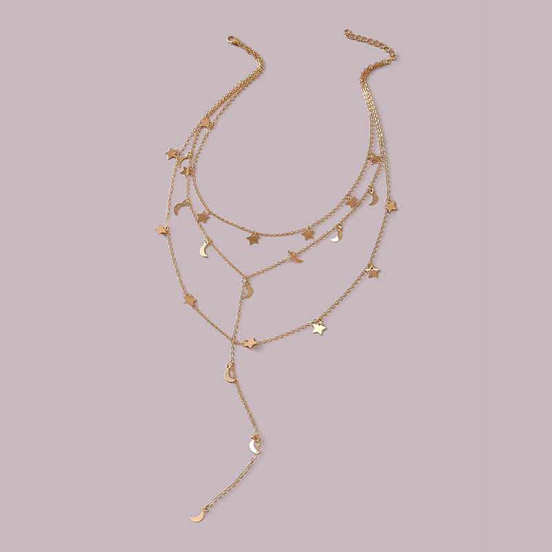 fashion alloy five-pointed star moon pendant three-layer tassel necklace  NHGY287754