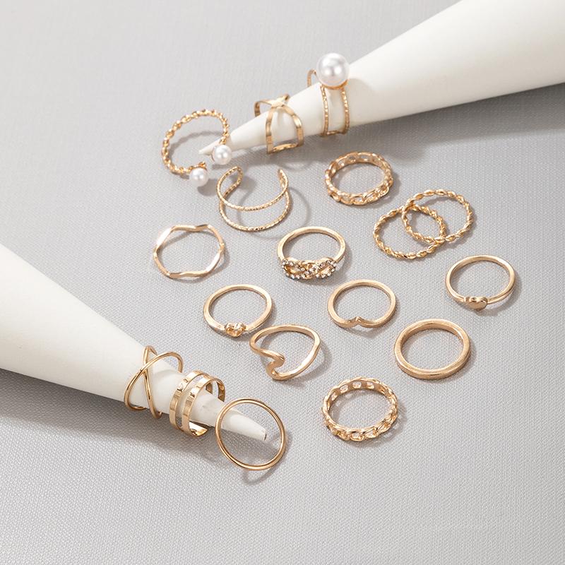 pearl hollow twist geometry super shiny retro fashion ring NHGY289556