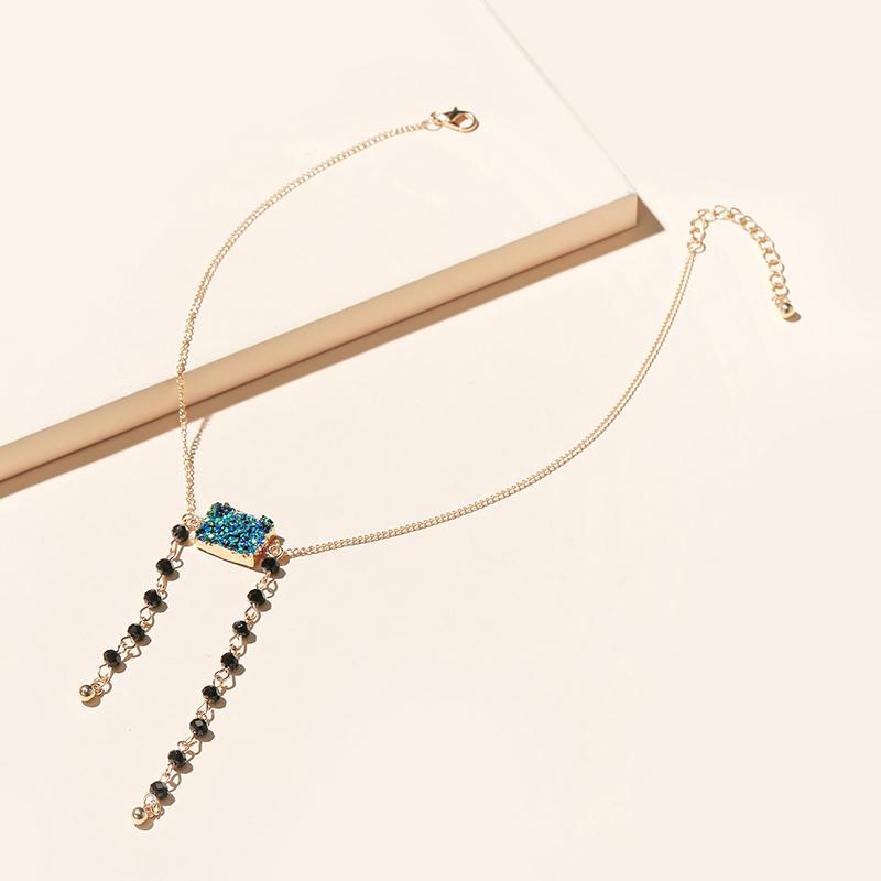 Blue Rhinestone Beaded Tassel Necklace  NHGY281741