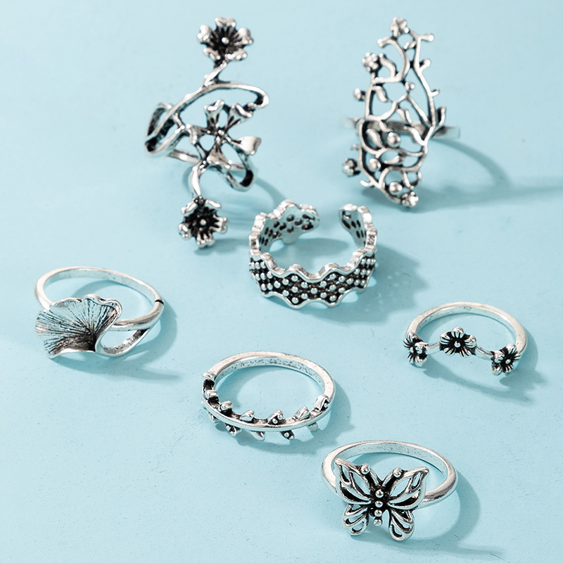 creative fashion retro alloy hollow flower butterfly joint ring 7piece ring NHGY294629