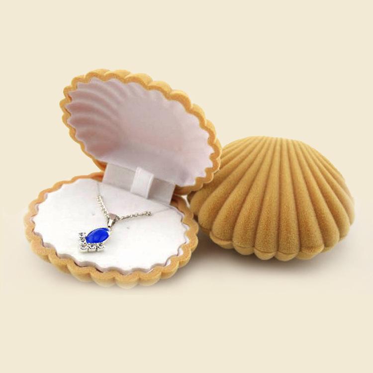 Flocking Shell Jewelry Box Korean Earrings Necklace Pendant Box NHQC294663