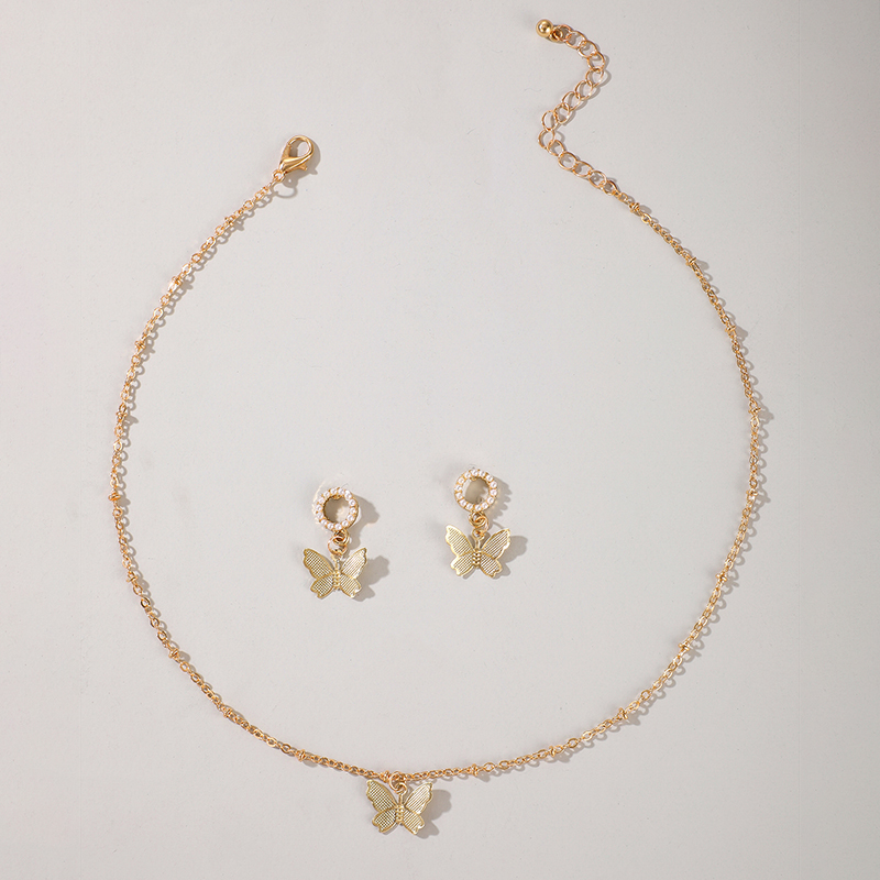 Hollow butterfly diamond pearl earrings necklace set NHGY297899