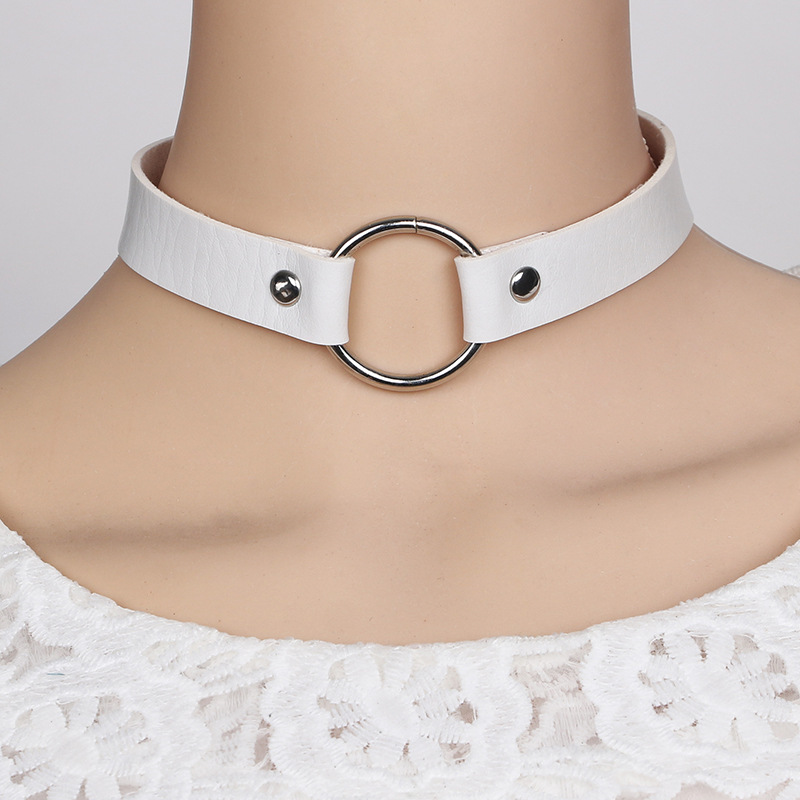 punk leather choker NHGY298798
