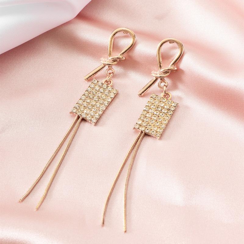 Full diamond square tassel earrings NHOT299789
