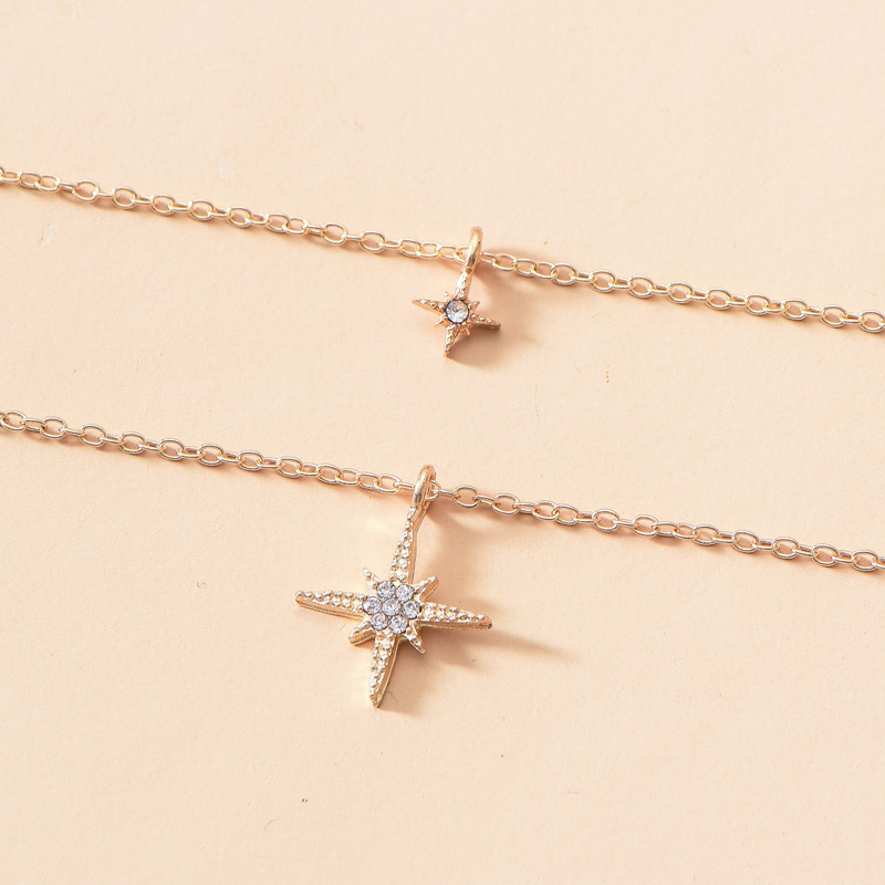 simple diamond cross double necklace NHOT299784