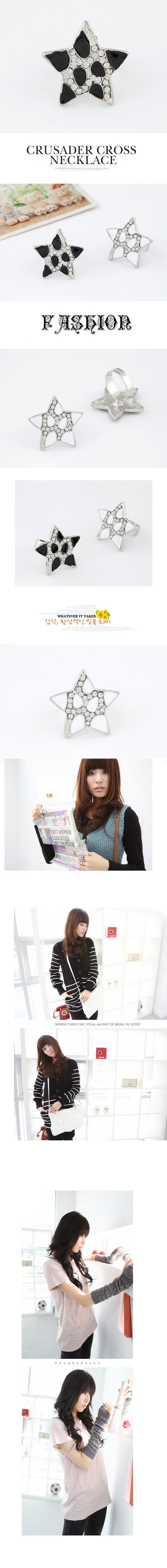 fashion flash diamond luxury lucky star  ring NHSC292173