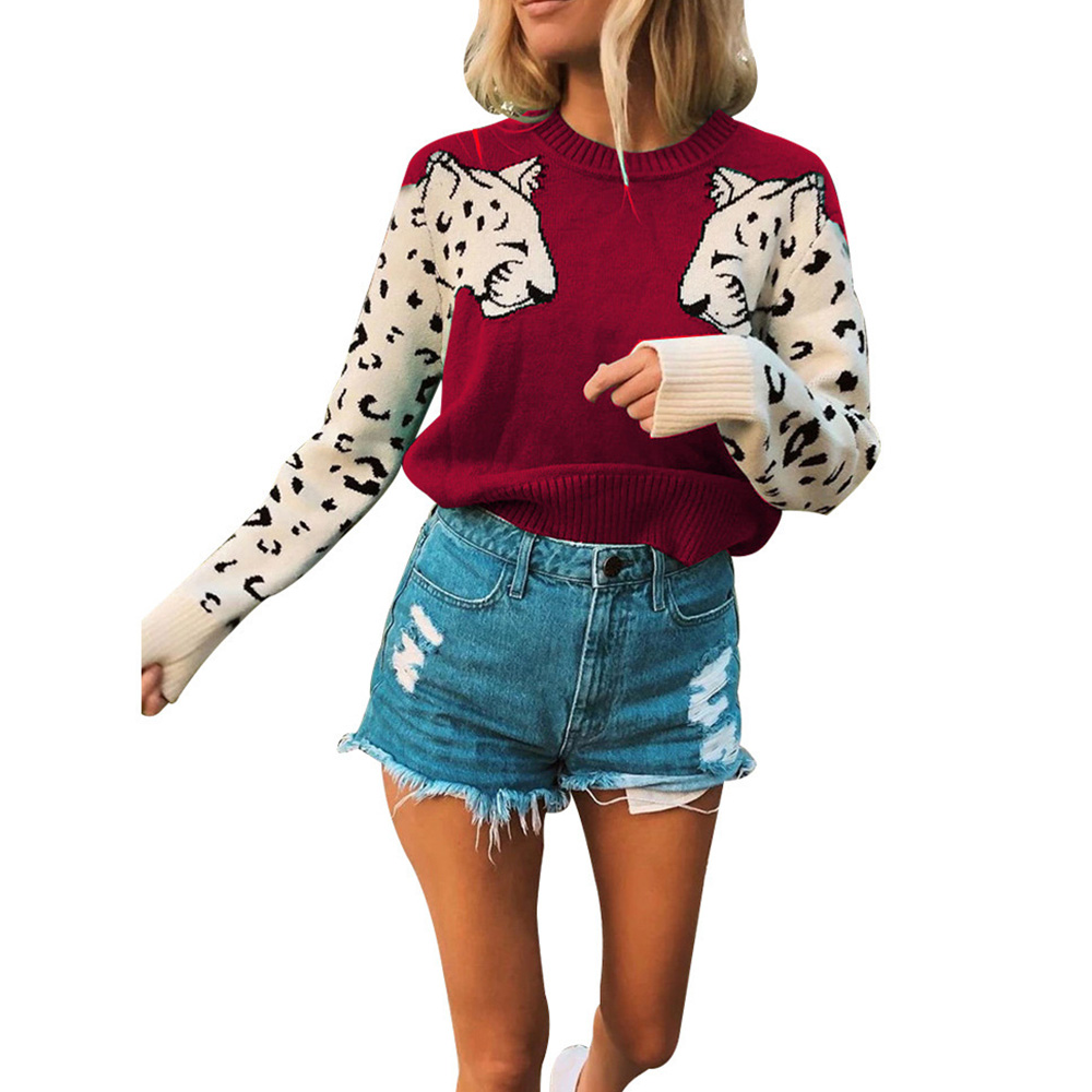 casual fashion leopard elastic sweater NHJG293189