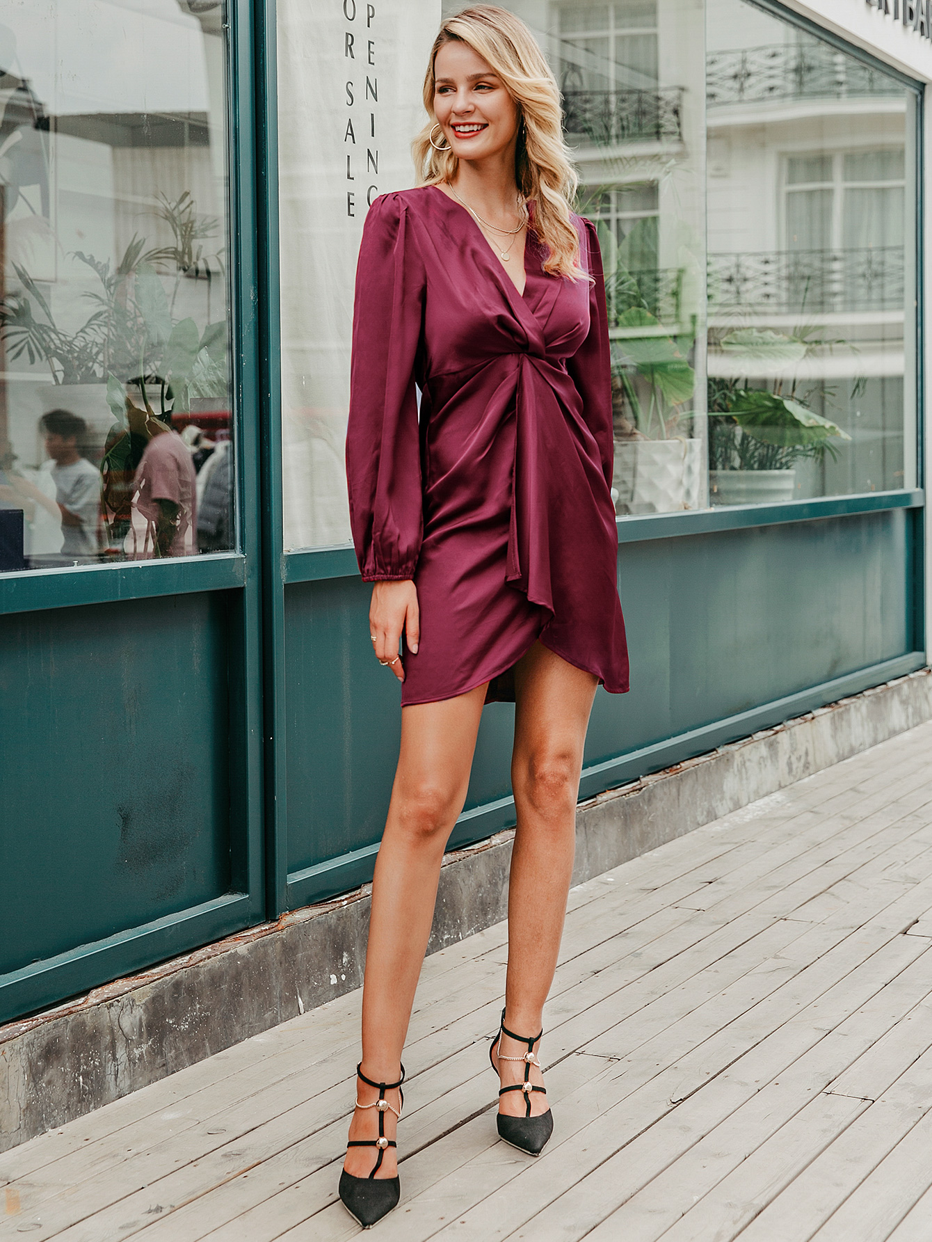 Fashion sexy long sleeve dress women elegant dress wholesale NHDE198589