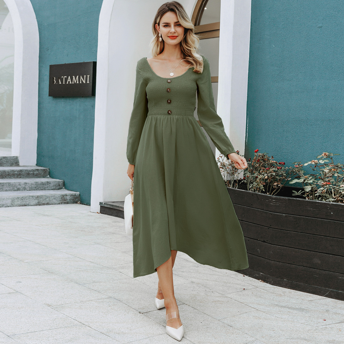 Fashion women's dress wholesale round neck long sleeve dress NHDE198612
