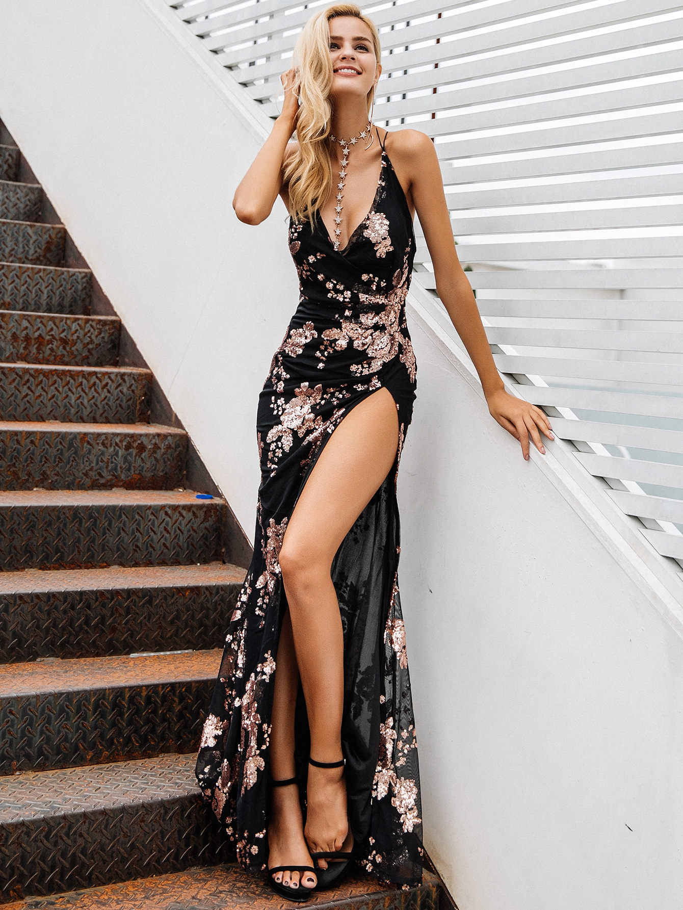 chic long printed dress throughout women's fashion clothes NHDE198616