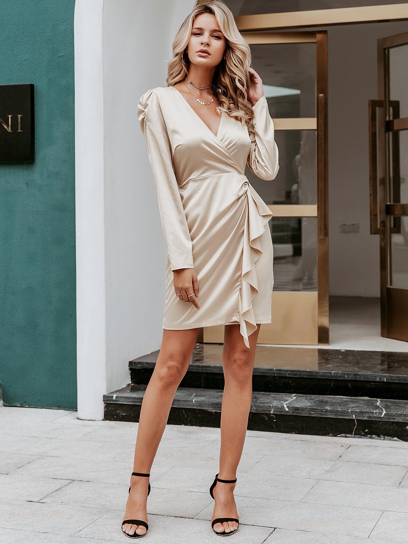 Sexy apricot satin V-neck dress wholesale women's fashion clothes NHDE198621