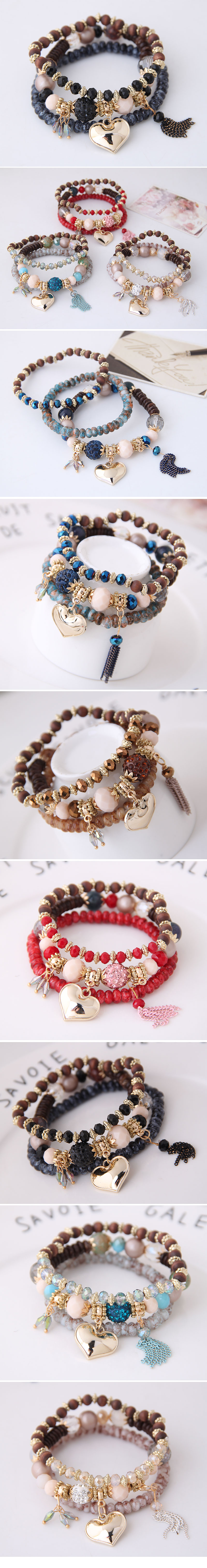 Fashion Sweet Wild Water Drop Peach Heart Tassel Fashion Temperament Female Bracelet NHSC199095