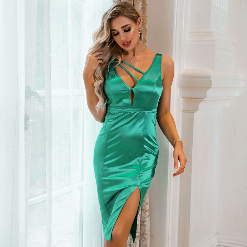New Women's Wholesale Sexy Solid Color Hollow Fashion Dress NHDE199731