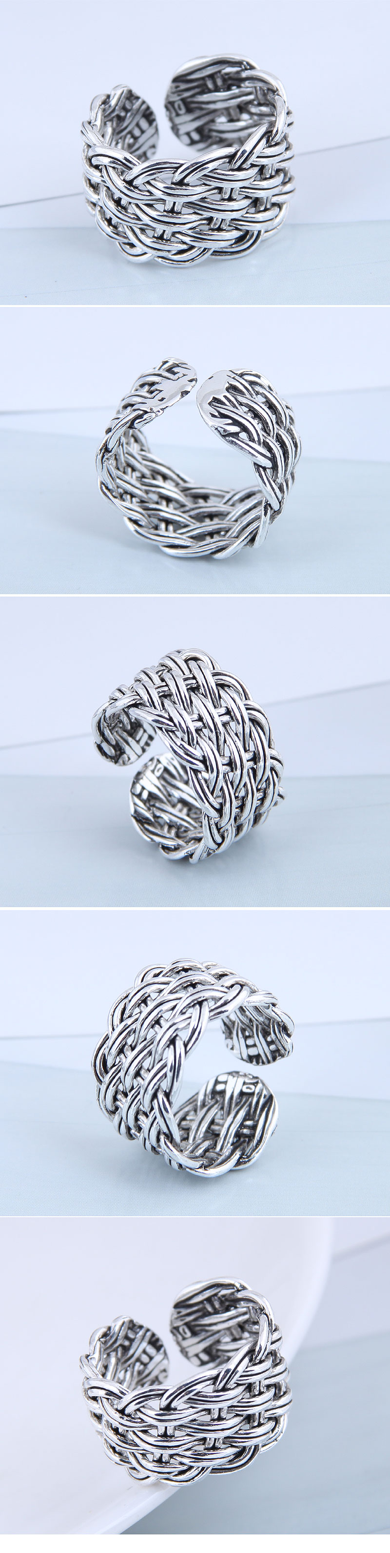 Fashion ring wholesale vintage knit exaggerated open ring NHSC199718