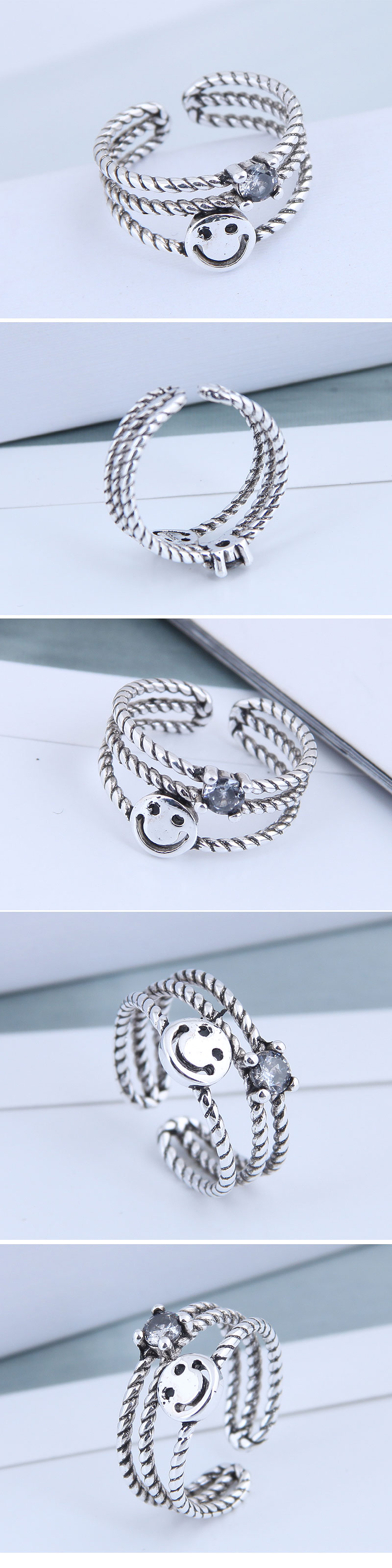 Exquisite Fashion Ring Wholesale Retro Smiley Open Ring NHSC199700