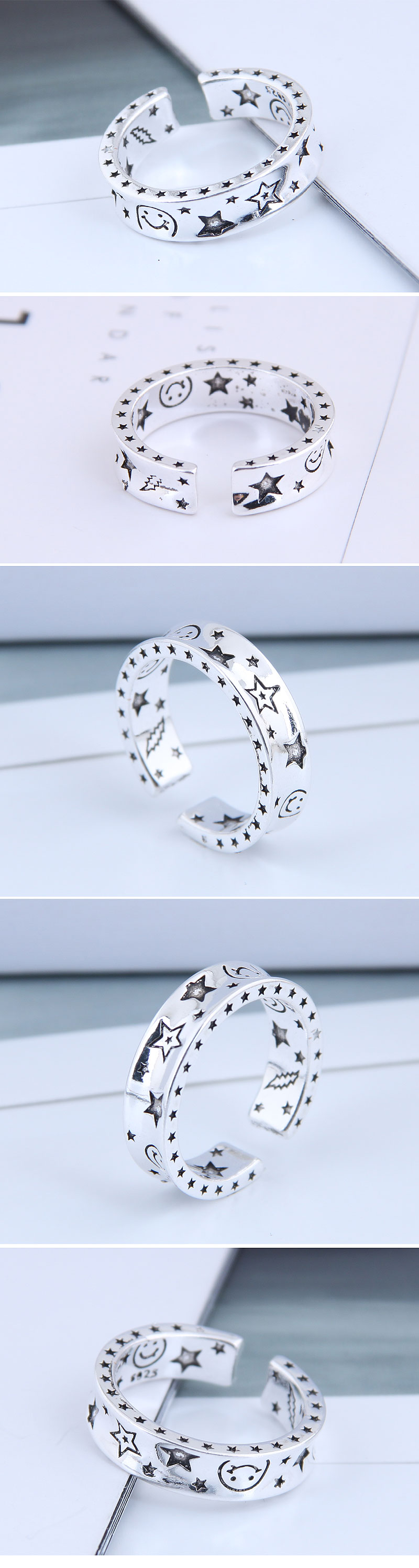 Exquisite Fashion Ring Wholesale Retro Starry Open Ring NHSC199699