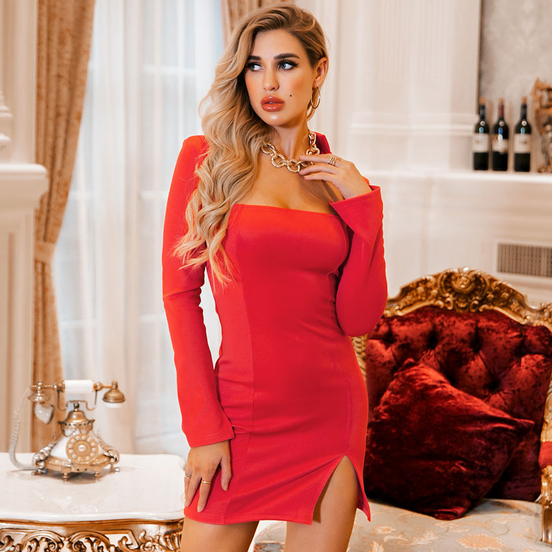 Women's New Sexy Solid Color Split Slim Hollow Simple Long Sleeve Nightclub Style Dress NHDE201424
