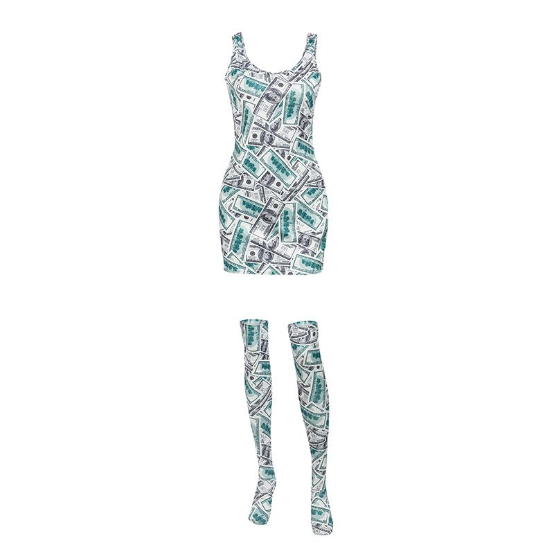 Women's Wholesale Sexy Letter Print Sling Dress with Socks NHDE201423