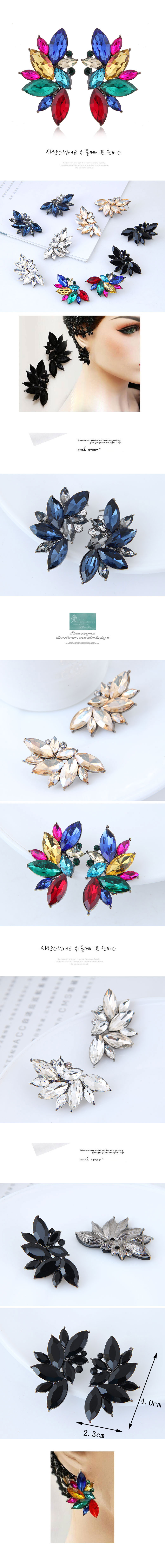Fashion Metal Brilliant Gemstone Stud Earrings NHSC201775