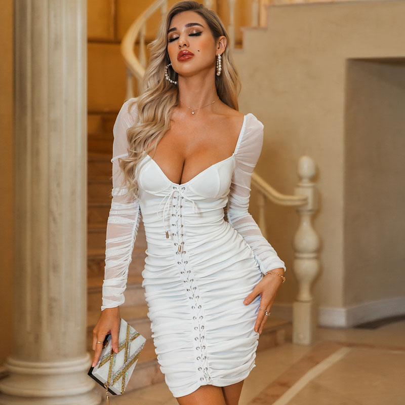 Sexy solid color slim mesh lace up shot bubble sleeve party dress dress women's wholesale NHDE203197