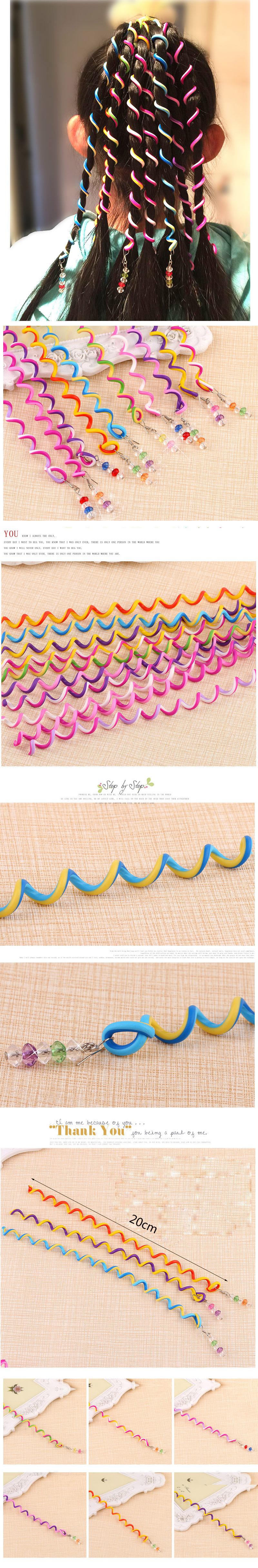 Candy-colored Princess Korean Spiral Hair Weaving Device Rainbow Hair Accessories Headdress Beaded Curly Hair Stick NHSC201770