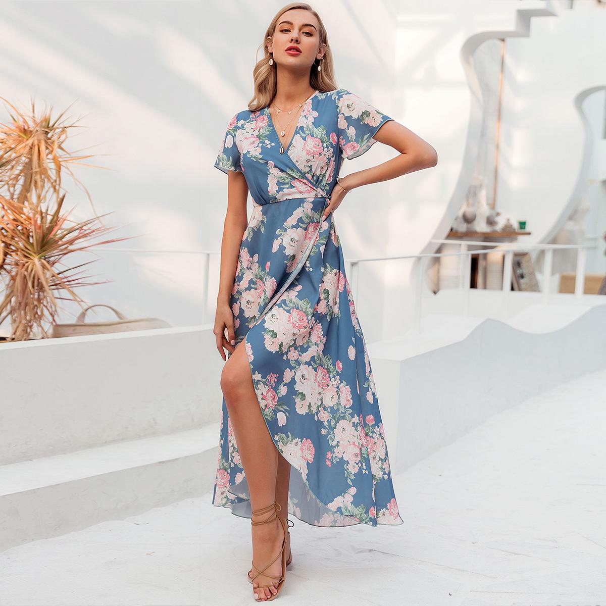Short Sleeve Sexy Leg Split Print Dress Fashion Women's Clothes Wholesale NHDE201688