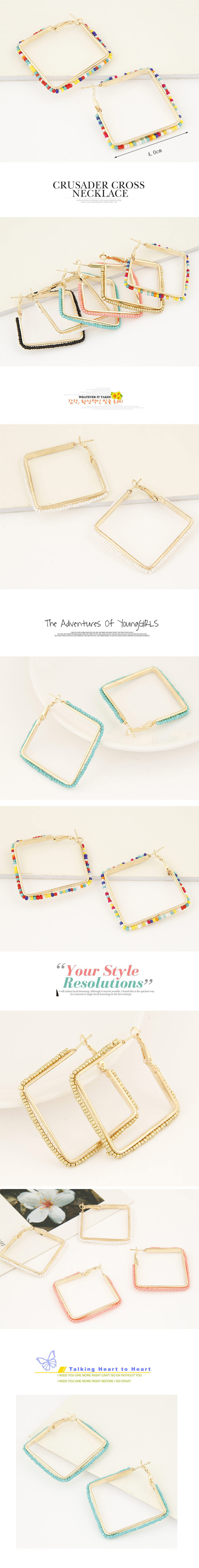 Jewellery for women Fashion Metal Simple Bead Square Earrings NHSC202451