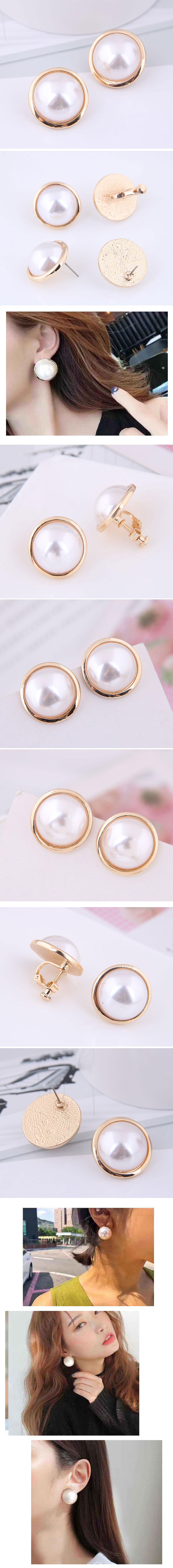 Fashion jewelry Korean fashion sweet OL elegant pearl ear clip NHSC202446