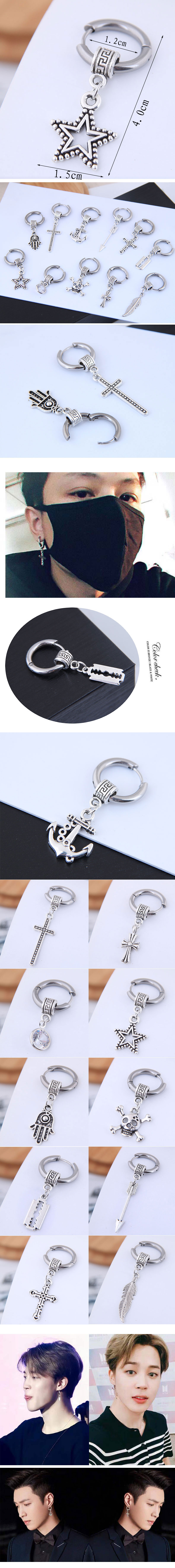 Men's simple hip-hop titanium steel cross earrings wholesales yiwu NHSC202748