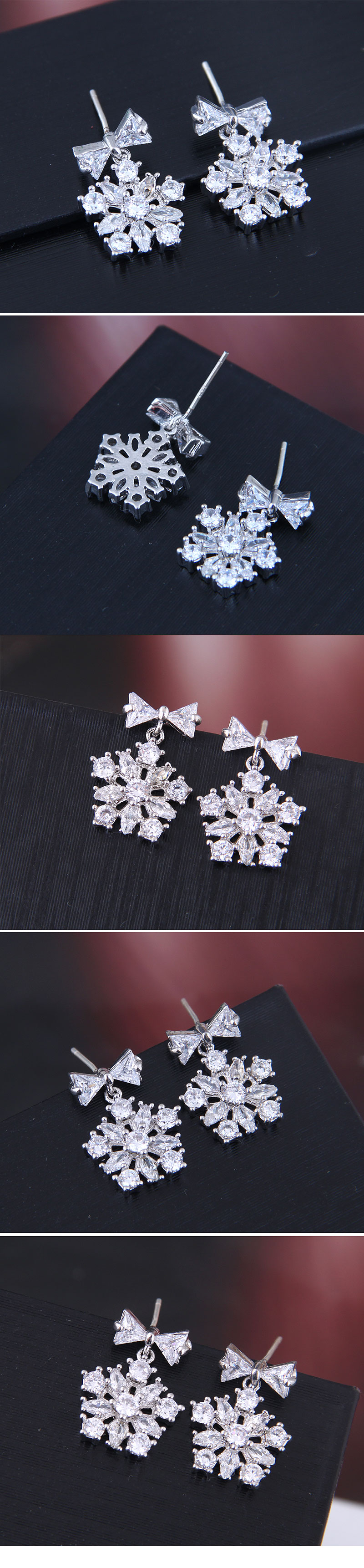 925 Silver Pin Korean Fashion Studded Snowflake Stud Earrings wholesales yiwu suppliers china NHSC203734