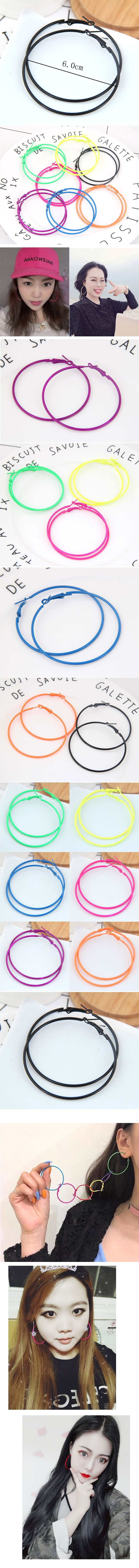 Stylish metallic fluorescent simple circles earrings NHSC199654