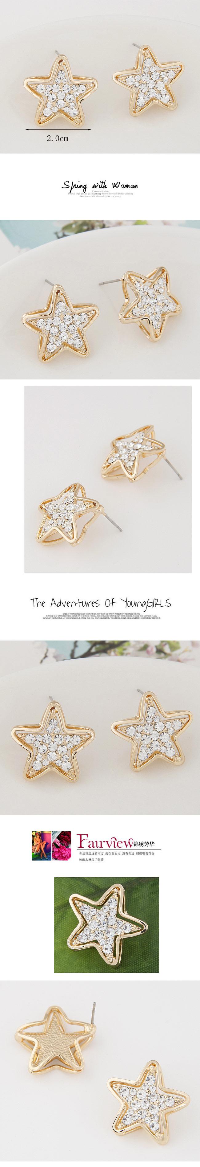 Korean fashion exquisite flash diamond pentagram star studs wholesale NHSC204334