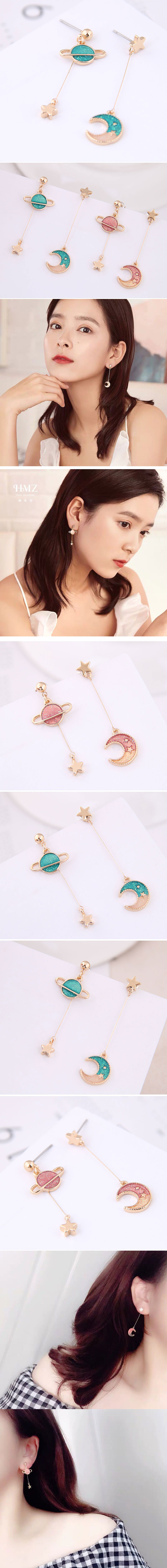 Korean Fashion Sweet OL Xingyue Asymmetric Earrings Wholesale NHSC204331