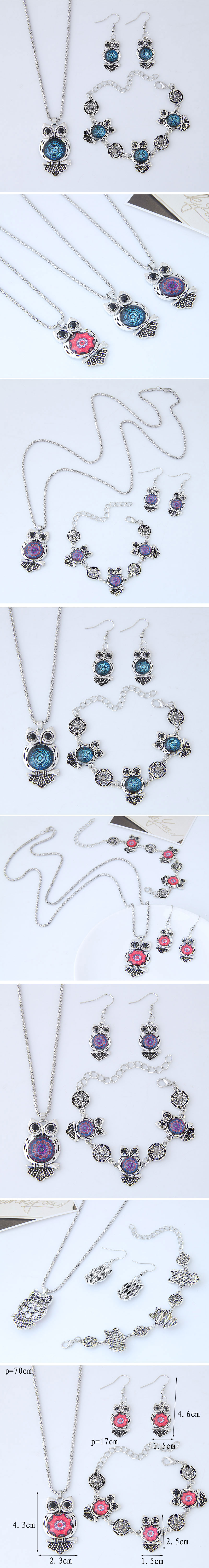 Fashion Metal Wild Vintage Owl Necklace Bracelet Earring Set NHSC204293