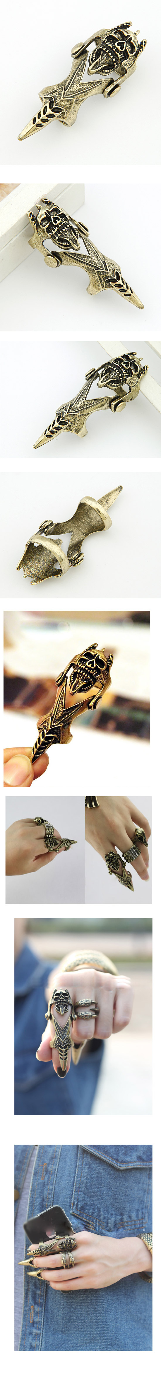 Korean fashion rock punk style personality skull joint ring NHSC205086