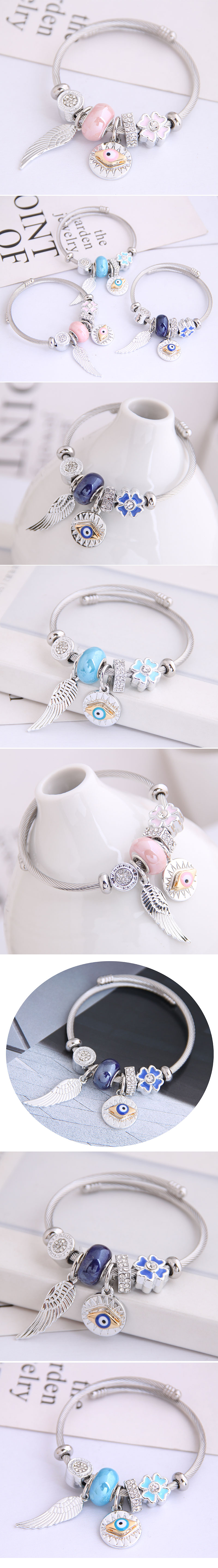 Metal DL Angel Wings Demon Eye Pendant Multi-Element Accessories Bangle NHSC205080