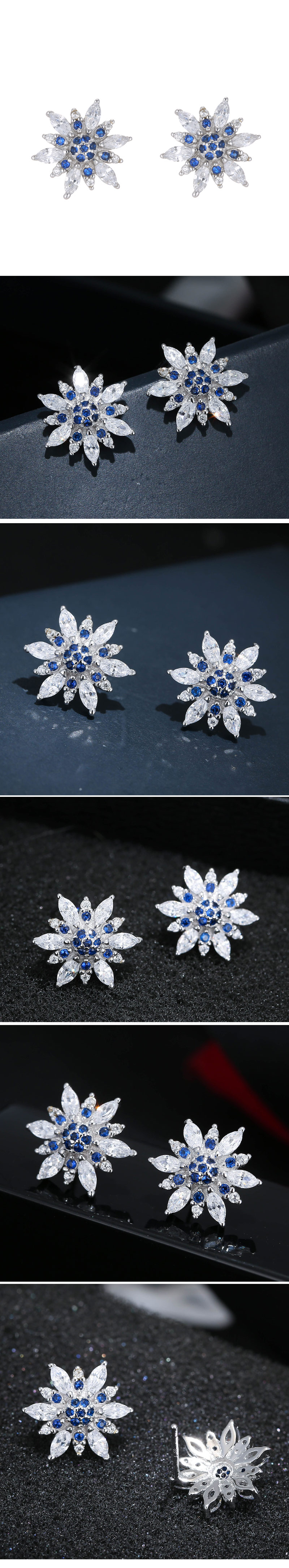 Yi wu jewelry Korean fashion sweet OL simple bright sun flower zircon earrings wholesale NHSC205743