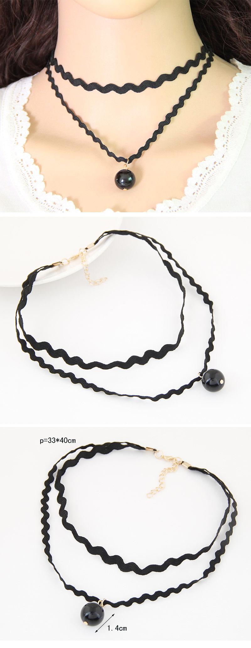 Fashion simple double bead necklace ladies wholesale necklace NHSC205708
